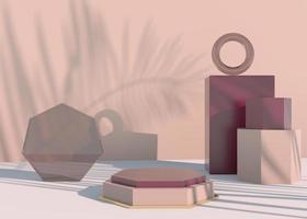Podio con sombras de hojas de palma para presentación de productos cosméticos. maqueta de fondo de pedestal de escaparate vacío. Render 3D. foto
