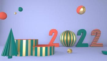 Happy New Year 2022. 3D numbers with geometric shapes and christmas ball. 3d render. photo