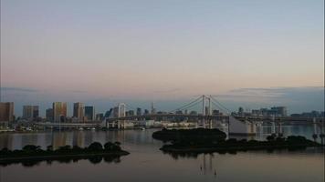 Beautiful Rainbow bridge in Tokyo city in Japan video