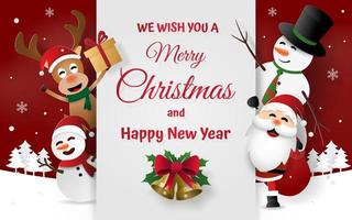 Christmas party with Santa Claus and friends, Merry Christmas vector