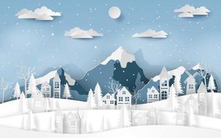 Landscape countryside village at snow valley in winter season vector