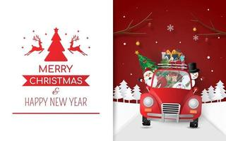 Santa Claus and friends in red car, Christmas card, Merry Christmas vector