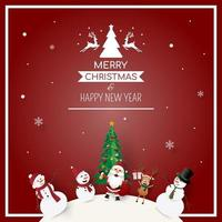 Frame of Christmas party with Santa Claus and friends vector