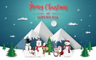 Christmas party with Santa Claus and friends at the snow mountain vector