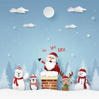 Santa Claus and friends on the roof with chimney, Merry Christmas vector