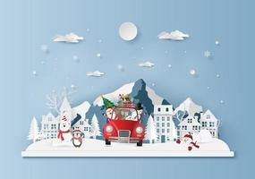 Christmas red car in the village, Merry Christmas vector