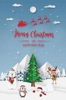 Christmas party at snow mountain, Merry Christmas vector