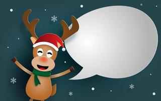 Reindeer with bubble speech for say something, Merry Christmas vector