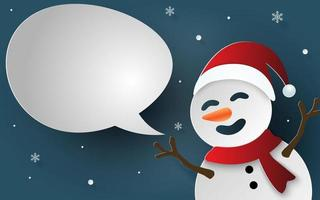 Paper art, Craft style of Snowman with bubble speech for say something vector