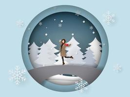 Paper art and craft style of winter season vector