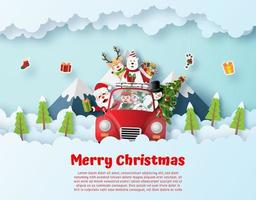 Santa Claus and friend driving Christmas red car on the sky vector