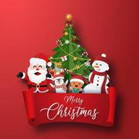 Christmas character and Christmas tree with red label vector