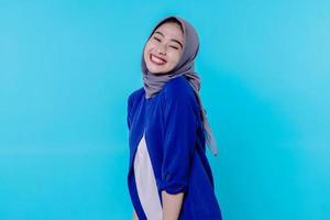 Optimistic charming attractive young woman with cute smiling joyfully photo