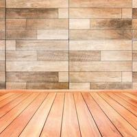 Wooden interior background of floor and wall photo