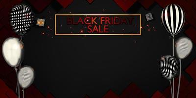 Venta de banner de viernes negro con regalos y globos. foto