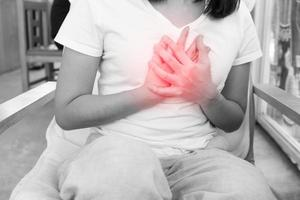 Woman has retro sternal chest pain at rest photo