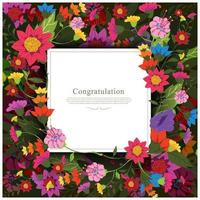 Beautiful and Colorful Floral Greeting Card Template vector