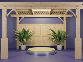 Fondo de escenario de podio con árbol para foto o producto