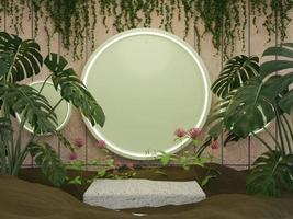 Representación 3d podio de productos de naturaleza de alta calidad foto