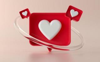 Medios sociales 3d como ilustración del icono de notificación en 3d foto