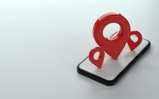 Map marker or pin point on top of phone 3d illustration photo