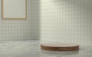 Escenario de producto 3d en escena de baño con luz de sol matutino foto