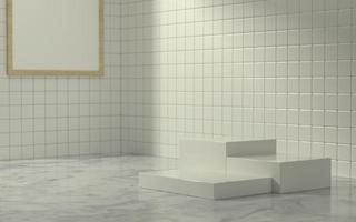 3D Product stage in bathroom scene with morning sun light photo