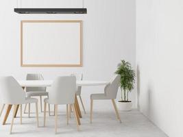 sala de estar con mesa, silla y marco de pared, estilo 3d foto