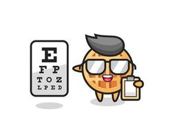 Illustration of circle waffle mascot as an ophthalmologist vector