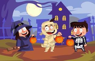 Group of Friends Celebrate Halloween vector