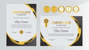 Gradient golden and black luxury certificate with gold badge set vector