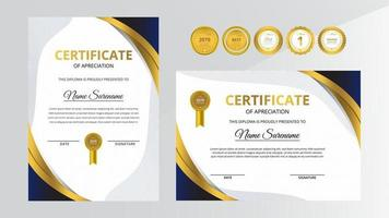 Gradient golden and blue luxury certificate with gold badge set vector