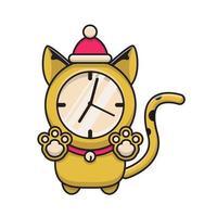 cat wall clock illustration vector