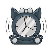 monochrome cat clock illustration vector