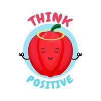 Positive Thinking, cute bell pepper doing meditation vector