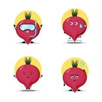 Collection of cute beetroot characters vector