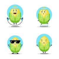 Cute corn character collection vector