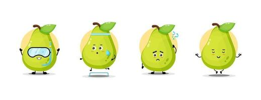 Cute pear character collection vector