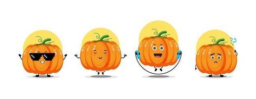 Cute pumpkin character collection vector
