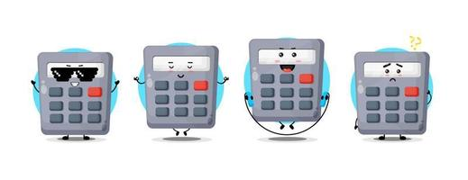 Cute calculator character collection vector