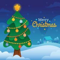 Christmas Tree in Winter vector