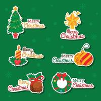 Christmas Tree and Decoration Sticker vector