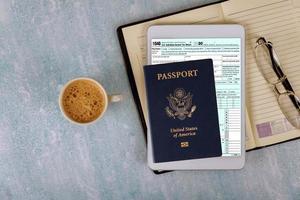 Application 1040 U.S. Individual Income Tax  American passport photo