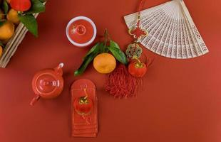 Happy Lunar Chinese New Year ceremony tea set photo