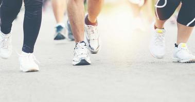 Motion blur of Marathon running photo