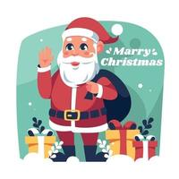 Santa Claus With Christmas Gift Boxes vector