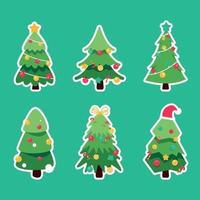 Decorated Christmas Trees Sticker Collection vector