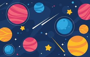 Colorful Space with Planet and Stars Background vector