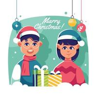 Happy Two Kids Celebrating Christmas vector