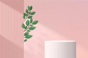 White geometric pedestal podium with Green leaf and shadow. vector